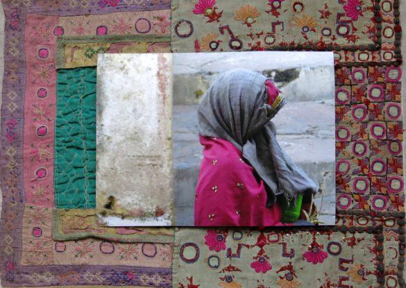 'Vrouw met groene beker' 50x60cm Gemengde techniek: eigen beeld op handgeborduurde oude Indiase textiel. (sold)