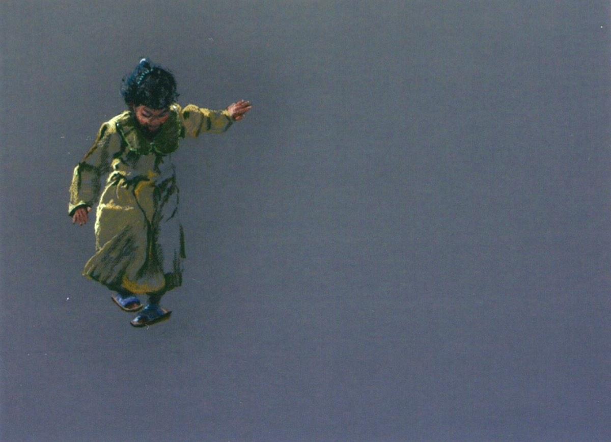 Spelend meisje, 56x67cm, pastel op papier. (sold)