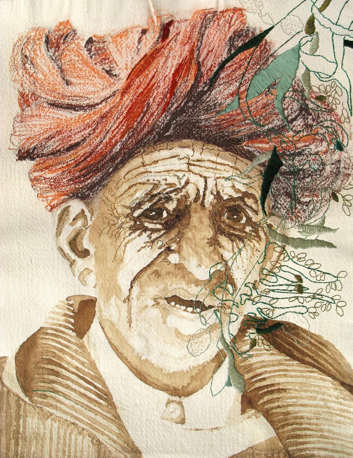 'Oude man met tulband' 35x45cm Gemengde techniek: bister, pastel en borduurzijde op handgeschept papier. (sold)