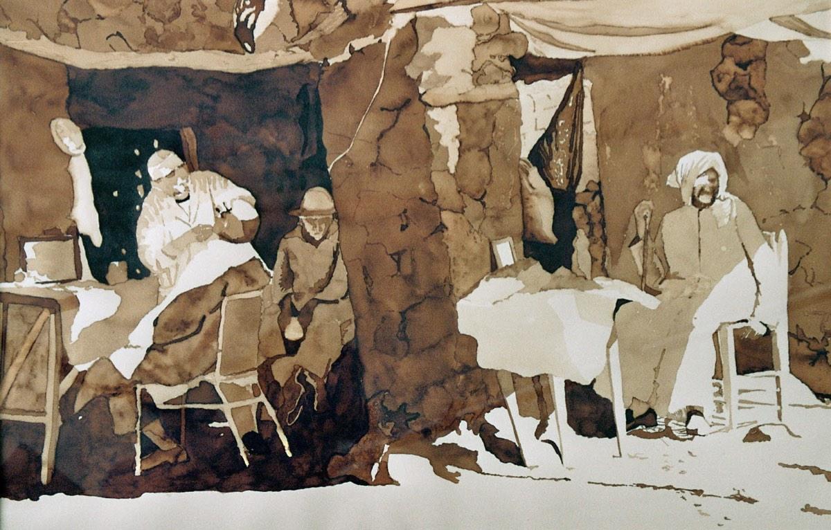In de schaduw bij de kapper, 56x67cm, inkt op geschept papier. (sold)