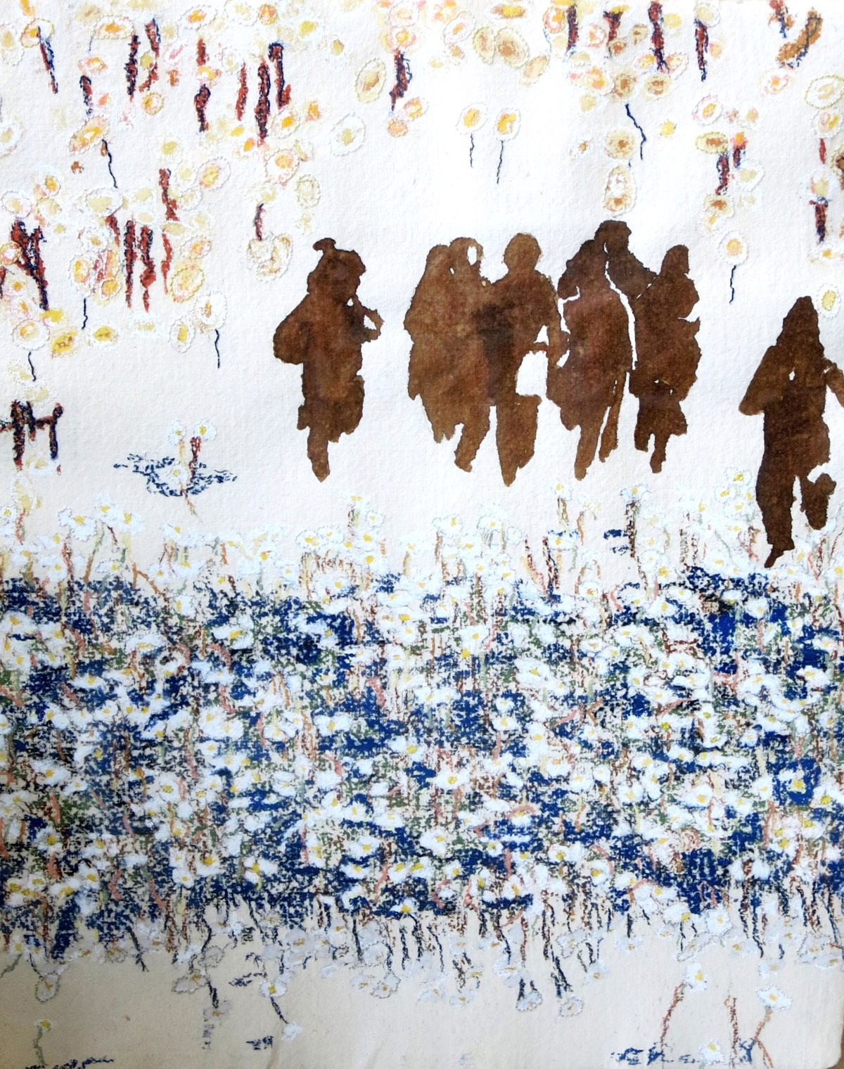 'Nomadenkinderen op de hoogvlakte van Fez', 43x54cm Gemengde techniek: bister, pastel en borduurzijde op handgeschept papier. (sold)
