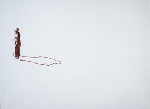 Serie Onderweg 'Man in djellaba met zonnebril' 56x76cm Gemengde techniek: inkt en borduurzijde op geschept papier. (sold)