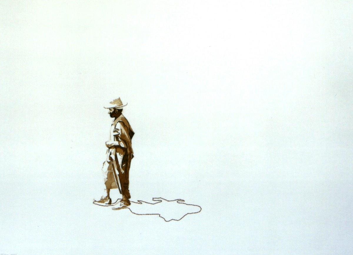 Serie Onderweg 'Man met strohoed' 56x76cm Gemengde techniek: bister en borduurzijde op geschept papier. (sold)