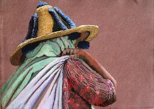 'Zij draagt haar leven I' ±25x35cm Gemengde techniek: pastel en borduurzijde op handgeschept papier. (sold)