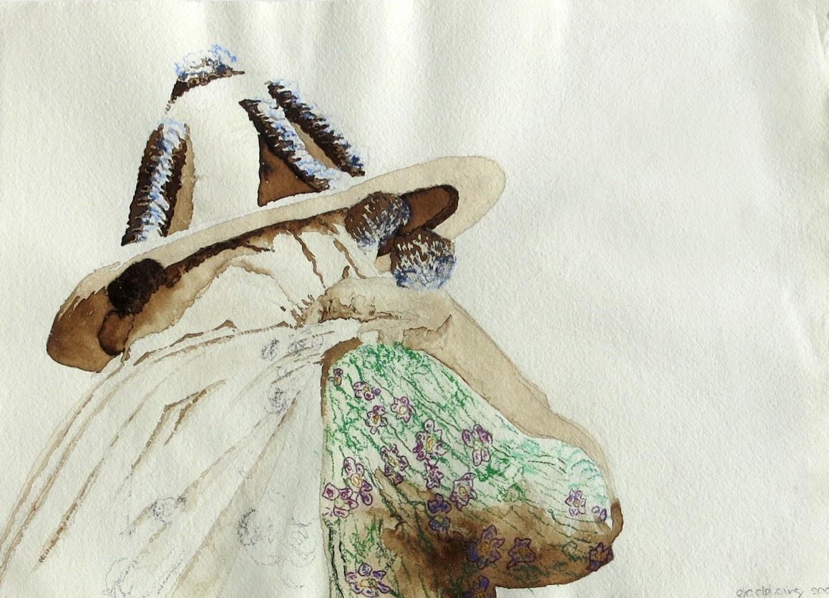 ' Zij draagt haar leven' 30x42cm Gemengde techniek: bister, pastel en borduurzijde op handgeschept papier.