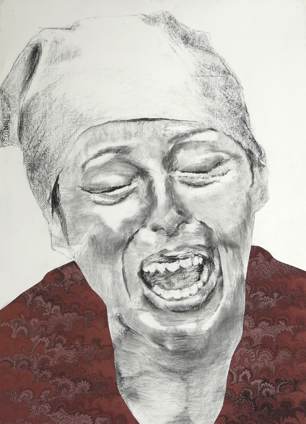 'Wanhopige vrouw' 56x76cm Gemengde techniek: gemarmerd papier ±1920 en potlood op geschept papier, info button