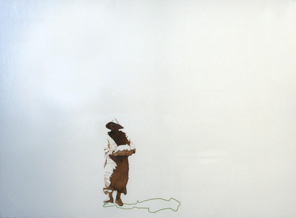 Serie Onderweg 'Man met strohoed en watermeloen' 56x76cm Gemengde techniek: bister en borduurzijde op geschept papier. (sold)