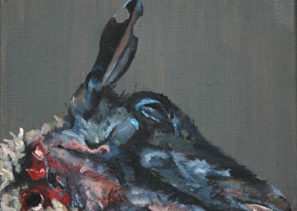 Slachtoffer II, 18x24cm, olieverf op linnen. (sold)