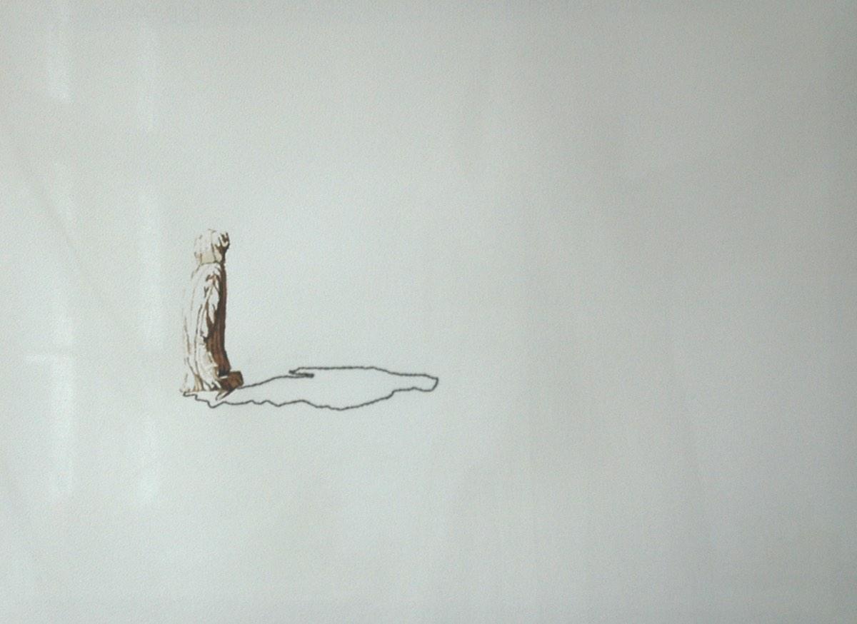 Serie Onderweg 'Man met gestreepte djellaba' 56x76cm Gemengde techniek: bister en borduurzijde op geschept papier. (sold)