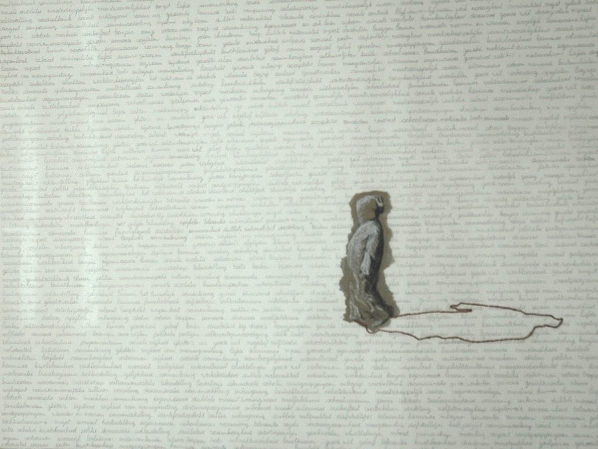 Serie Onderweg 'Man met gestreepte djellaba', 56x76cm Gemengde techniek: inkt, pastel,potlood en borduurzijde op geschept papier. (sold)