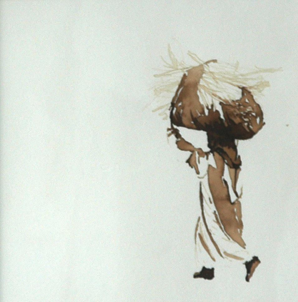 Serie: Onderweg: 'Dragende vrouw' 30x30cm, bister op handgeschept papier. (sold)