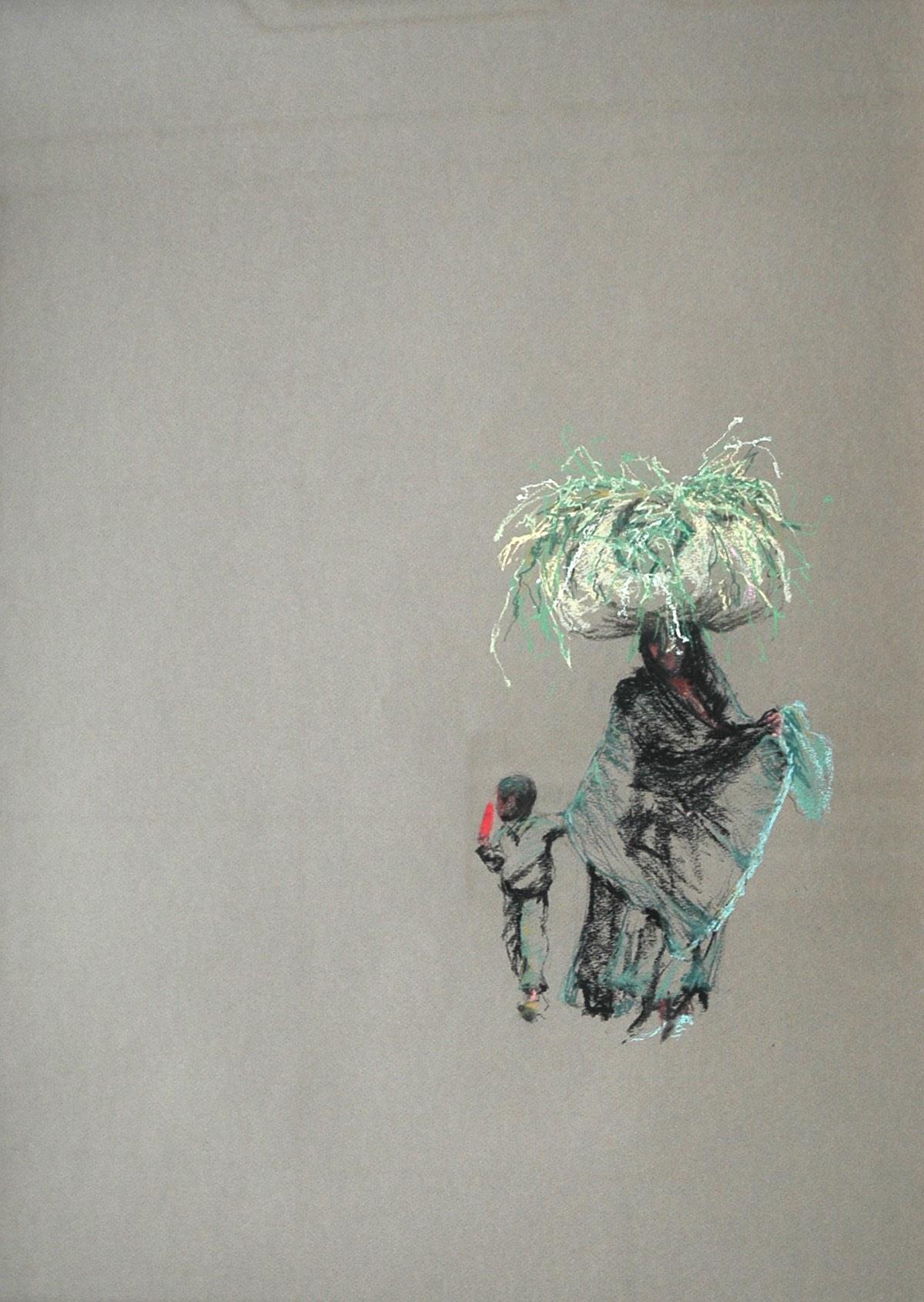 'Dragende vrouw en kind met ijslolly' 55x65cm pastel op papier. (sold)