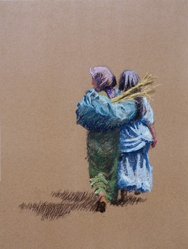 'Dragende meisjes' 30x40cm, pastel op papier. (sold)