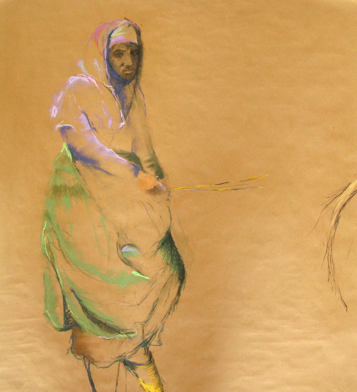 'Vrouw met gele babouches' 68x79cm Gemengde techniek: pastel op pakpapier. info button.