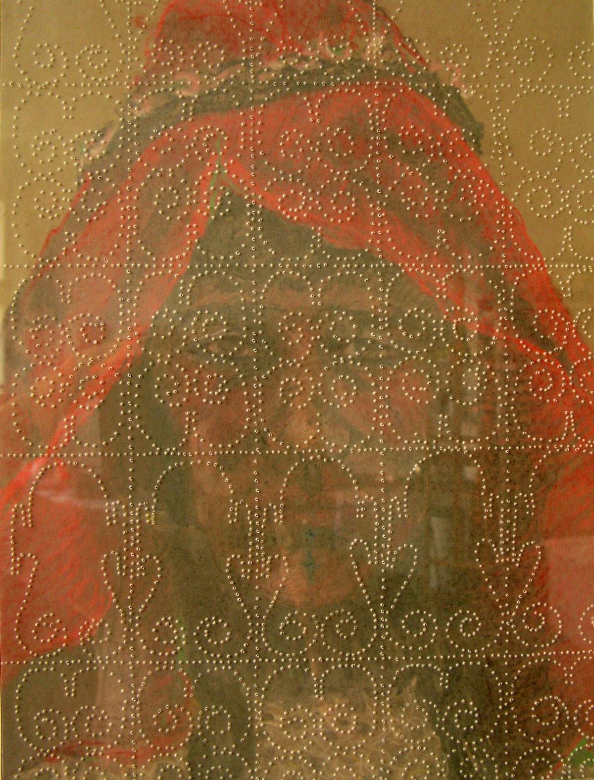 'Bruid aan de M'goun I' 30x40cm Gemengde techniek: pastel en geperforeerd kalkpapier op papier. (sold)
