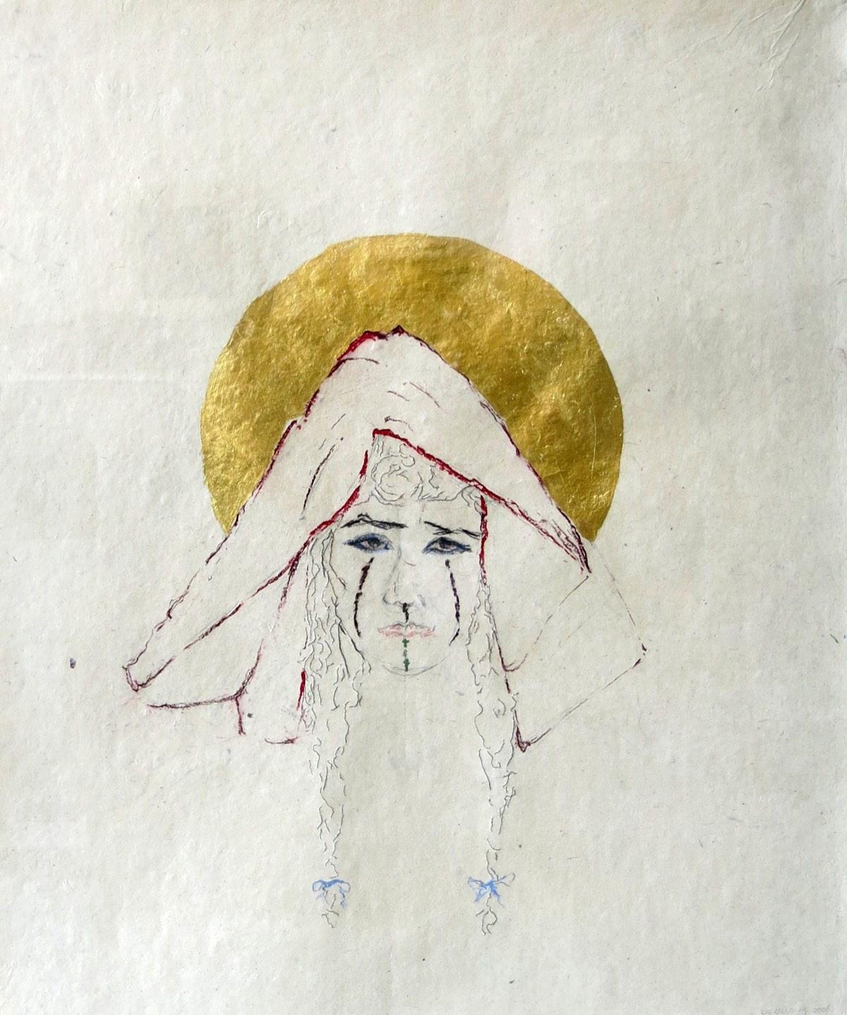 'Bruid aan de M'goun III' 50x65cm Gemengde techniek: pastel, bladgoud en paardenhaar op handgeschept papier. (sold)