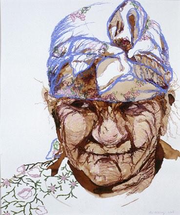 Oma op de hoogvlakte van Azrou, 43x54cm, inkt, pastel en borduurzijde op papier, privécollectie