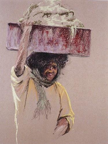 'Vrouw met wastobbe op haar hoofd' 30x40cm, pastel op papier, info button.