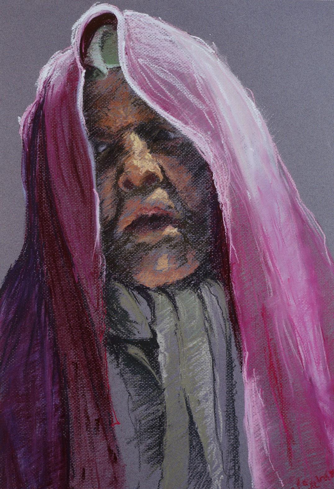 'De vrouw die viel' 23x46cm, pastel op papier, info button.