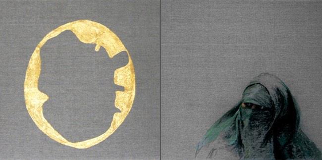 Haar sieraad I, tweeluik, 2x40x40cm, pastel en bladgoud op linnen. (sold)
