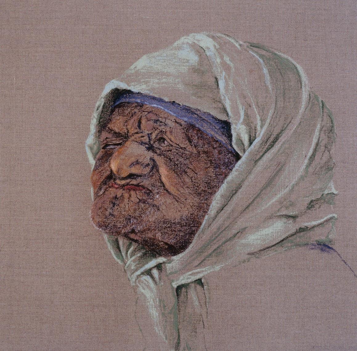 'Oude vrouw in de mellah van Fez, 40x40cm, pastel op linnen, info button.