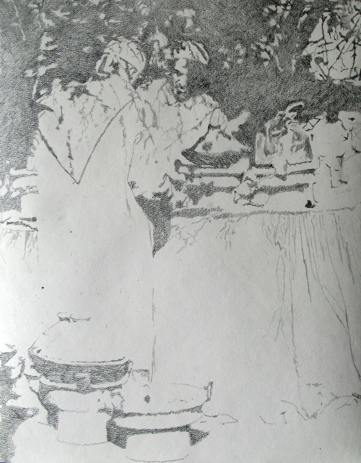 Eetkraampje op de markt, 56x67cm, potlood op handgeschept papier. (sold)