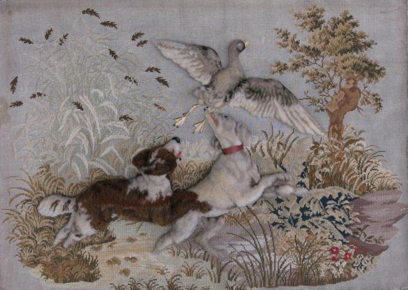90x60cm, voorzijde: Engels jachttafereel, borduurwerk met smyrna 19e eeuw