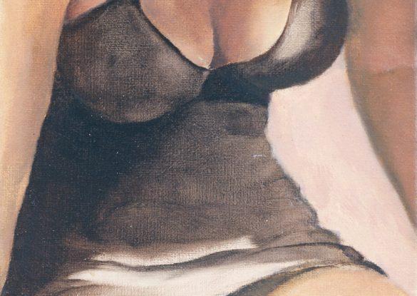 'J. zwarte onderjurk' 13x18cm, olieverf op doek. (sold)