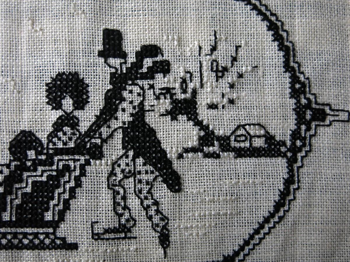 detail: borduurwerkje 'ijspret' katoen op linnen ± 1910