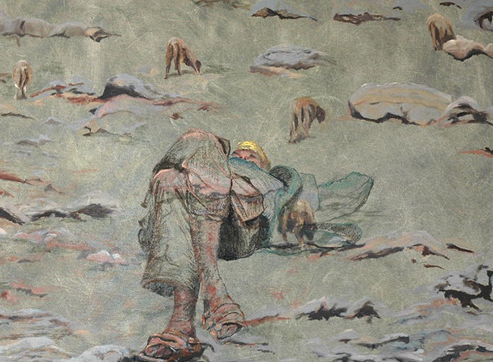 'Herder in het veld' 100x50cm, Gemengde techniek: olieverf en pastel op linnen. (sold)