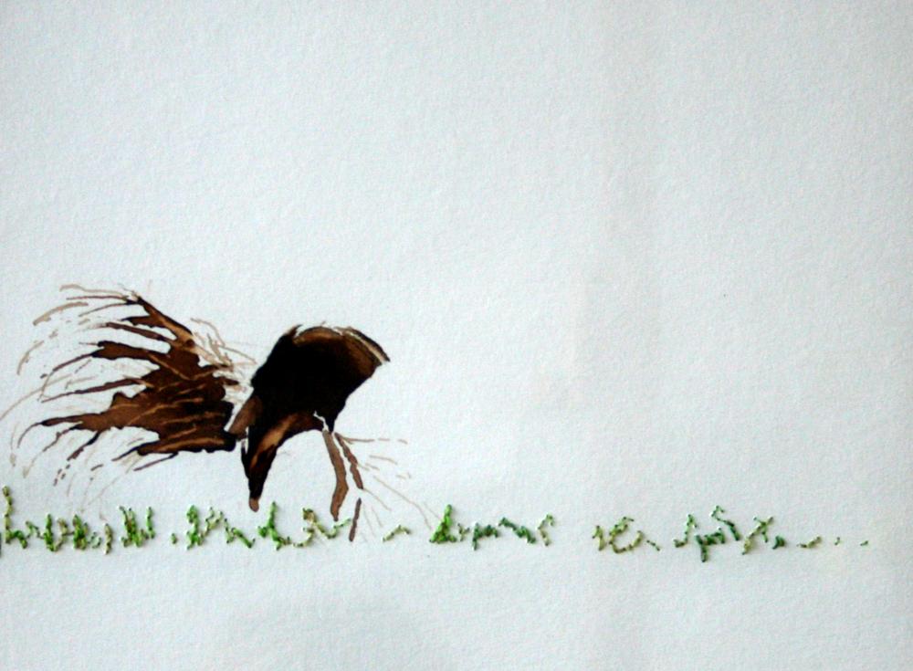 'vrouw met grasbundel in het veld' 30x30cm Gemengde techniek: bister met borduurzijde op geschept papier.