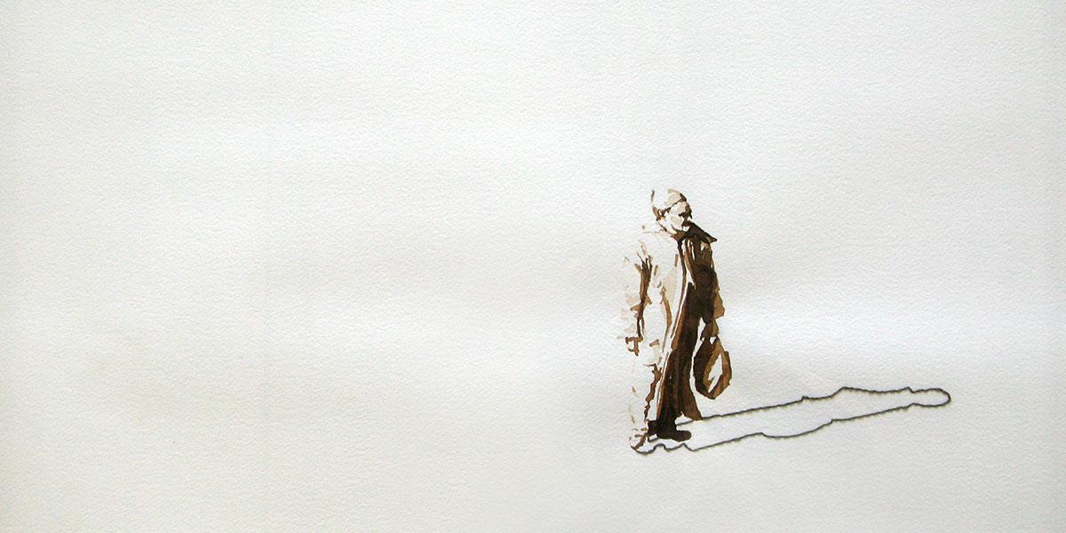 Serie Onderweg: Stilstaand figuur met boodschappentasje 56x76cm Gemengde techniek: bister en borduurzijde op geschept papier. (sold)