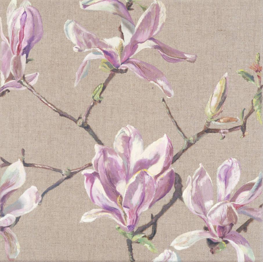 Magnolia drieluik, (bloeiend), 40x40cm, olieverf op linnen.
