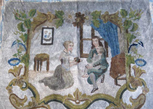 borduurwerk, verschillende technieken, borduurzijde en papier op linnen. ±1800, 55x45cm opgespannen op 19e eeuw linnen in oude lijst.