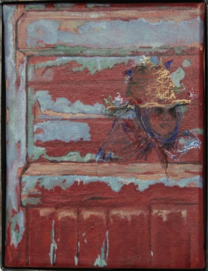 'Meisje in Chiefchouen' 18x24cm Gemengde techniek: olieverf en pastel op linnen. (sold)