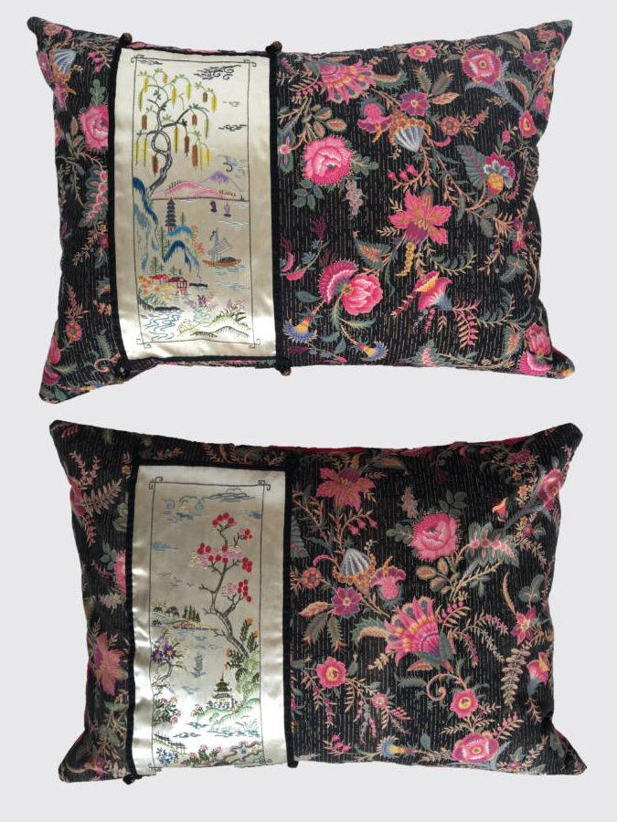 In deze set wordt oude Franse op Chinese bloemenpatronen geïnspireerde bedrukte katoen ±1870 gecombineerd met Chinese handgeborduurde landschapjes.