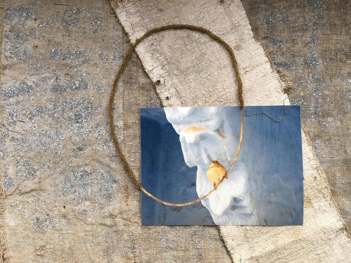 Series: Connecting the unknown 'Bird on the wire I' 80x80cm Mixed media: painted wall coverings from Sweden ± 1800, photograph from personal collection, cord hand knotted 19th century gold thread. (sold)