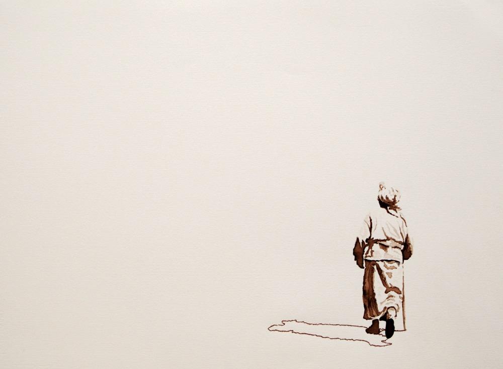 Serie Onderweg: 'Oma op de hoogvlakte van Azrou' 56x71cm Gemengde techniek: bister en borduurzijde op geschept papier. (sold)