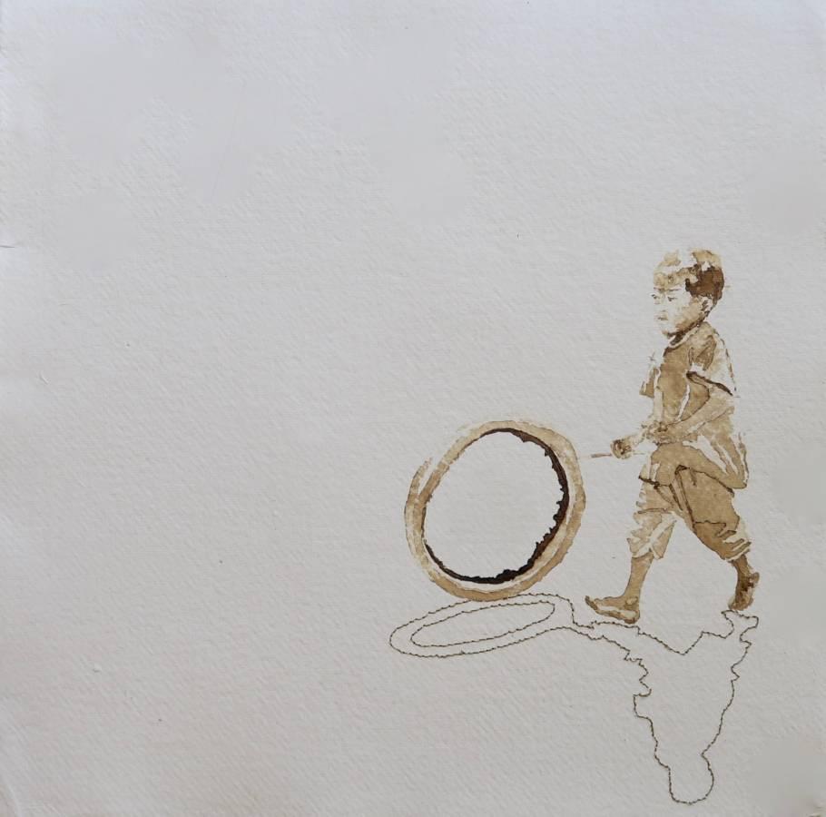 Groeten uit.... Serie: Onderweg 'kind hoepelt met fietsband bij Mataram' 34x34cm Gemengde techniek: handgeschept papier, inkt en 19e eeuws gouddraad.