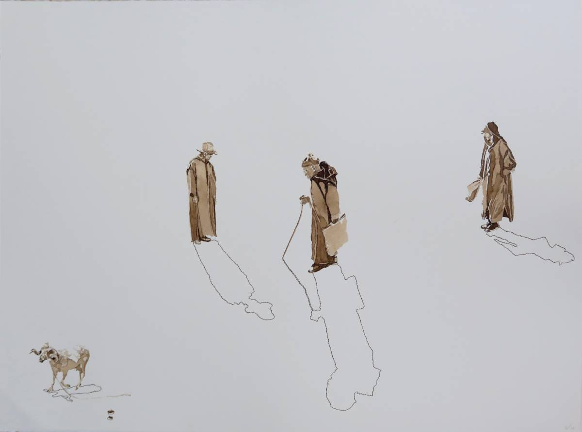 Series: On the way 'Early on the market at Idouiraine' 76x56cm Mixed media: ink and embroidery 19th century gold thread on handmade paper.
