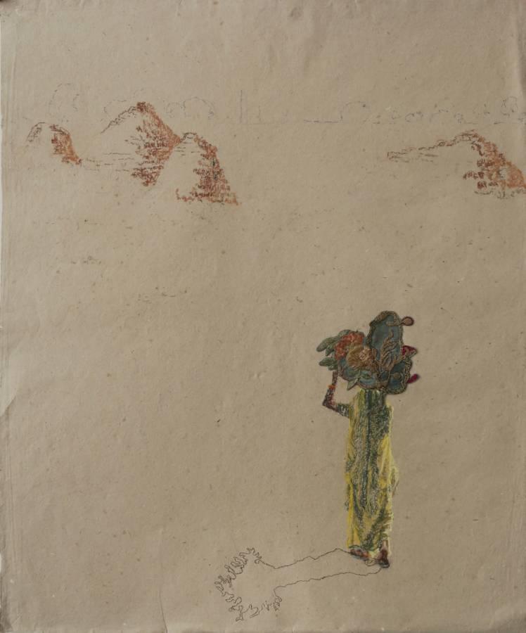 Serie: Connecting the unknown 'Onderweg naar de steenbakkerij' 52x76cm Handgeschept olifantenpoep-papier, pastel,19e eeuws gouddraad, handgeborduurde bloemen kazuifel Maastricht 19e eeuw (sold)