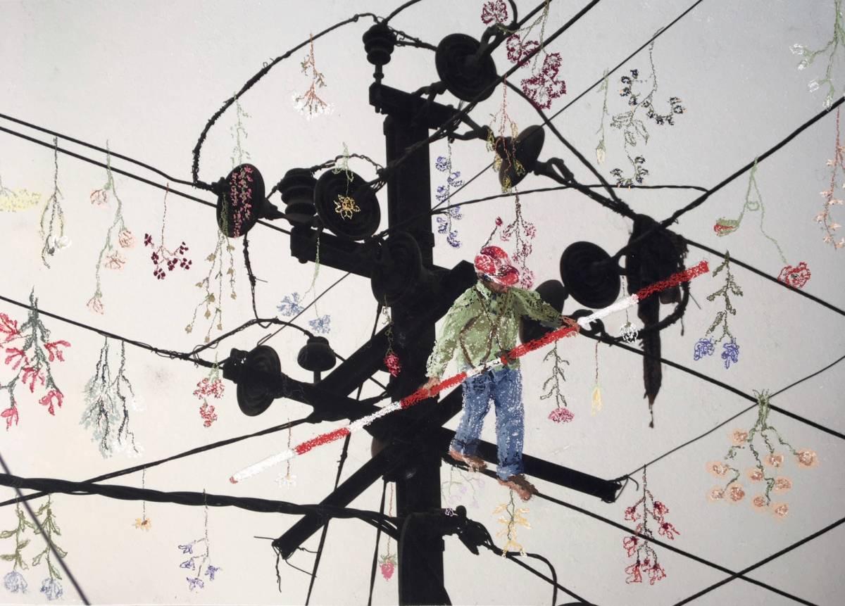 Serie: Connecting the unknown 'kinderarbeid' 60x40cm Gemengde techniek: eigen beeld, pastel.(sold)