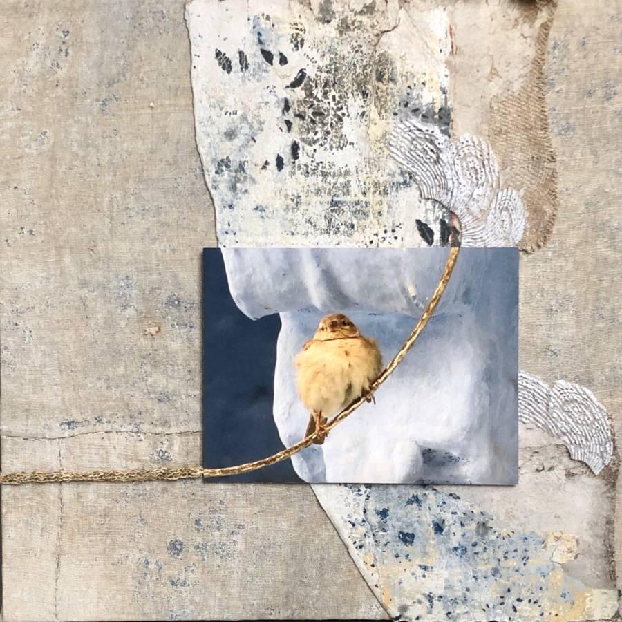 Serie: connecting the unknown 'Bird on the wire' II 60x60cm Gemengde techniek: beschilderde muurbekleding Zweden ± 1800, eigen beeld, gepunnikt touw met 19e eeuws gouddraad, handgemaakt gesteven kant van antieke Hollandse muts. (sold)